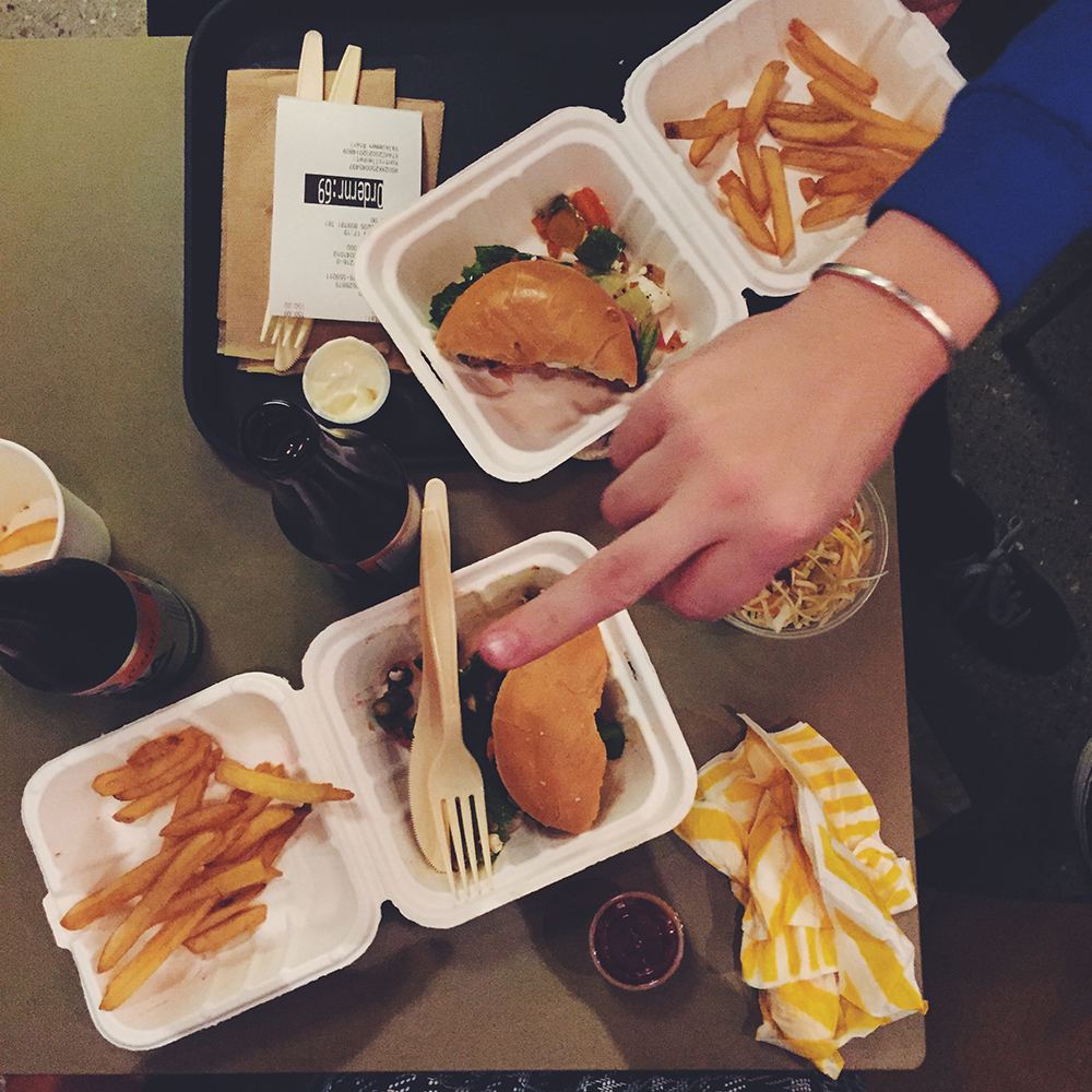 delad hamburgare